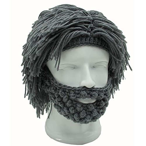 ZGZY Beard Hat Beanie Knit Pirate Barbarian Warrior Halloween Christmas Viking Horns Bearded Caps Windproof for Men & Women Tentacle Crochet Knit Beard Skull Cap (Greyish green) ()
