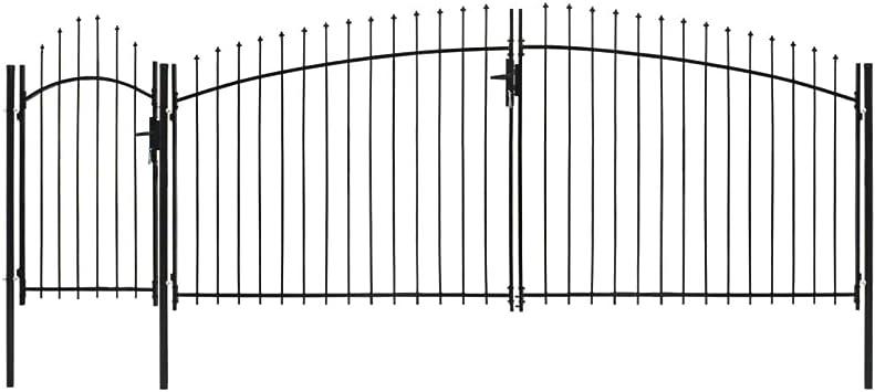 vidaXL Puerta de Jardín con Arco Superior Acero Vallas Entradas Cercado Patio Terraza Práctica Elegante Funcional Segura con Cerradura 2.25x5m Negra: Amazon.es: Bricolaje y herramientas