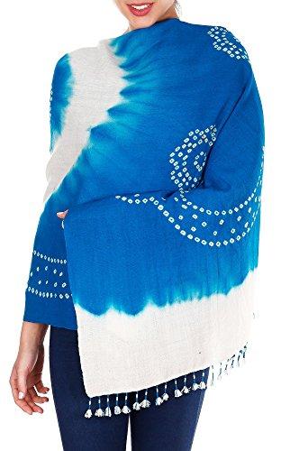 Turquoise Blue Cream Handmade Tie-Dye Woolen Shawls Wraps For Women by ShalinIndia