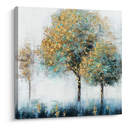 Pi Art Canvas Wall Art Abstract Shining Gold and Green Trees Painting Hand Painted on Canvas Print with Gold Foil Modern Home Decor Picture for Wall (32x32 inch, A)
