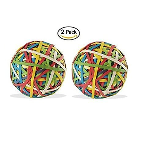 ACCO Rubber Band Ball, 275 Bands Per Ball, Assorted Colors, 1/Box (72155) (2) Acco Rubber Band Ball