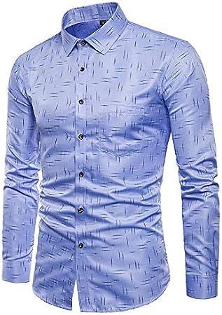 Whj Hombre Simple patrón Negocios Casual Camisa Fiesta de ...