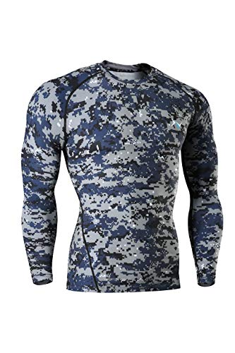 Nooz Men's Cool Dry Compression Baselayer Long Sleeve T Shirts - Blue Camo, Medium