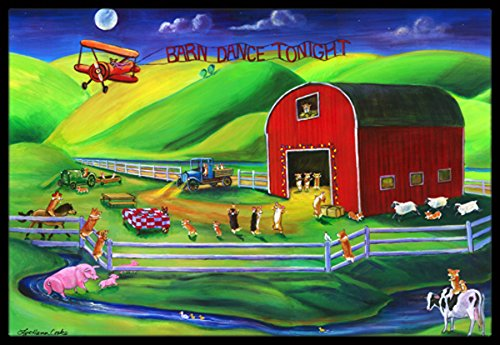 Caroline's Treasures 7404JMAT Corgi Barn Dance Indoor or Outdoor Mat, 24''H x 36''W, Multicolor