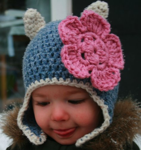 (Crochet pattern, baby cat beanie hat with earflaps includes 4 sizes from baby to adult (Crochet Animal hats Book)