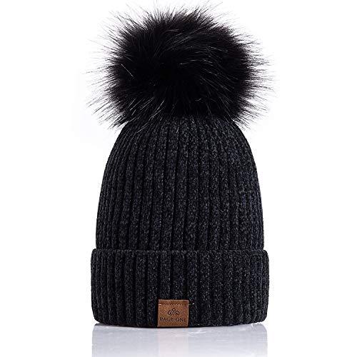 Editorial Pick PAGE ONE Women Winter Pom Pom Beanie Hats Warm Fleece Lined 3100c260be49
