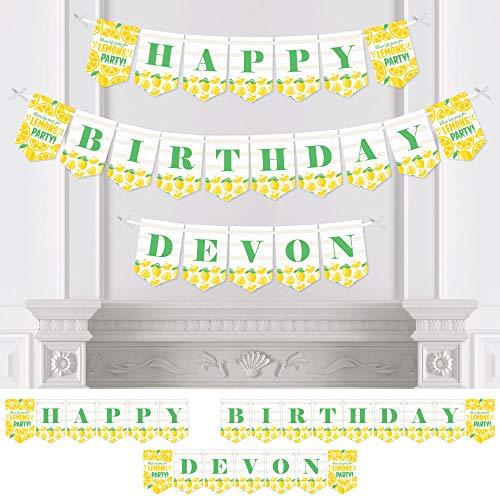 (Big Dot of Happiness Personalized So Fresh - Lemon - Custom Citrus Lemonade Birthday Party Bunting Banner & Decorations - Happy Birthday Custom Name Banner)