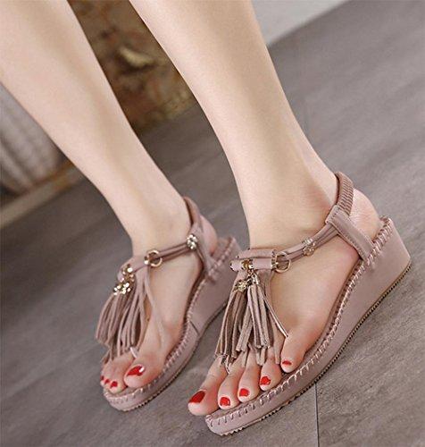Quasten dicke Kruste Muffin Sommer Komfort Sandalen römischen Stil flache Schuhe light purple