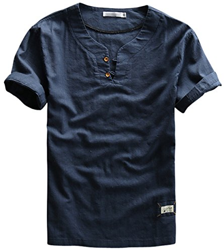 utcoco Men's Vintage Short Sleeve Cotton-Linen Casual Henley Shirts (X-Large, Dark Blue)