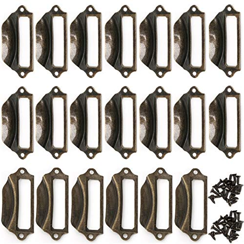 IronBuddy Label Pull Handle Metal Vintage Label Frame Card Holder Pull Handle with Mount Screws for Cabinets Drawers Dresser (Bronze, 2.72x1.14 Inch, Pack of 20)
