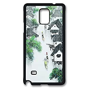 Galaxy Note 4 Case, Chinese Painting Creativity Design Print Pattern Perfection Case [Anti-Slip Feature] [Perfect Slim Fit] Plastic Case Hard Black Covers for Samsung Galaxy Note 4