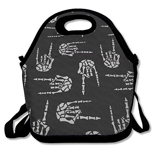 Most Fashion Maker Heavy Metal Skull Rock Hand Lunch Bags Insulated Travel Picnic Lunchbox Tote Handbag Shoulder Strap Women Teens Girls Kids ()