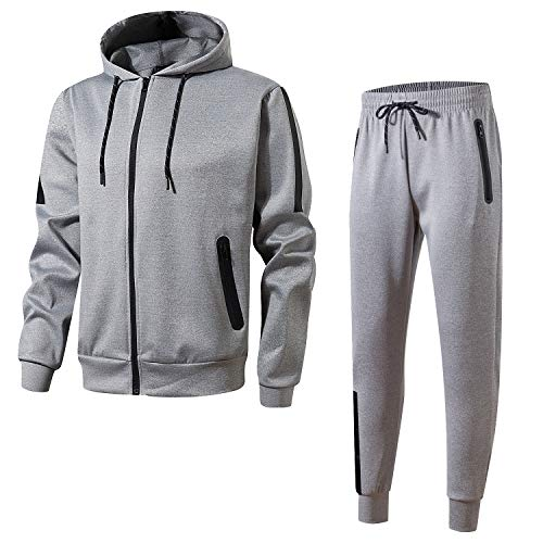 (Men's Athletic Casual Pant and Hooded Jacket Sweatsuit Set(L-Grey,L))