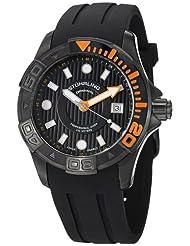 Stuhrling Original Men's 718.04 Aquadiver Regatta Manta Ray Swiss Quartz Professional Diver Black Rubber Strap Watch