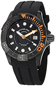 Stuhrling Original Men's 718.04 Aquadiver Manta Ray Swiss Quartz Date Professional Diver Black Watch