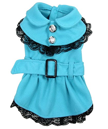 SELMAI Princess Dog Dress Parka Jacket Girl Dog Coats Pleated Lace Small Pet Clothes Blue (Pomeranians Dressed Up For Halloween)