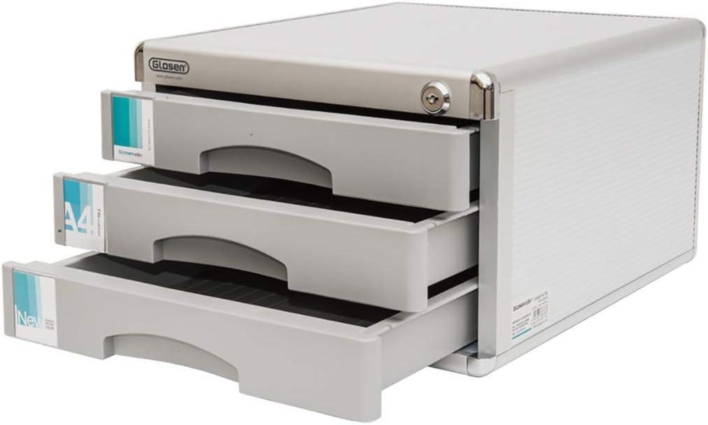 LKJH Aluminum Alloy Storage Drawers Desk Storage Unit Organizer Lockable File Cabinet Box for Office