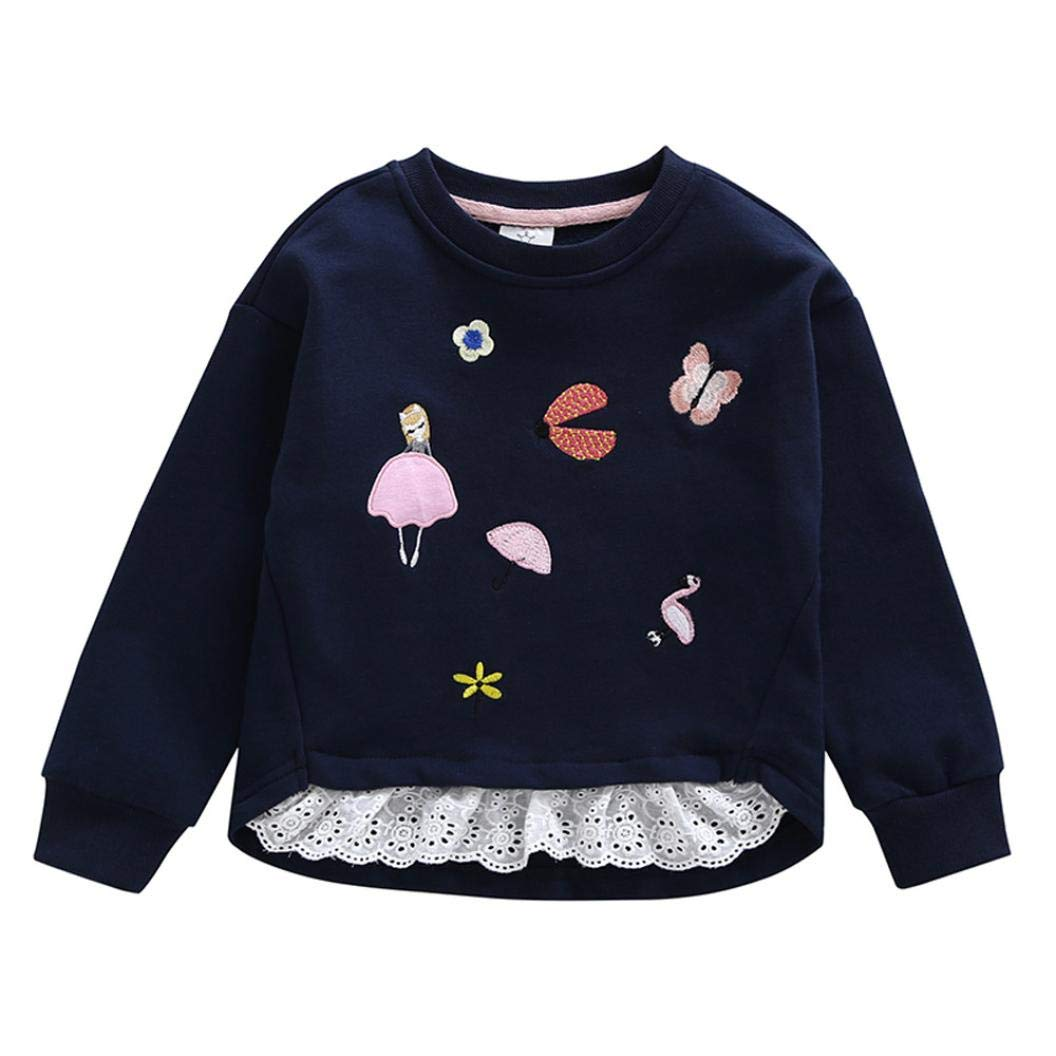 iumei Baby Sweatshirt Newborn Toddler Girl Embroidery Splicing Lace Clothes Long Sleeve Pullover Tee (4-5 T, Navy)