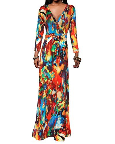 Women's Stretchy Long Sleeve Faux Wrap Tie Dye Abstract Print (Abstract Design Dress)