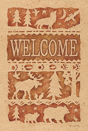 (Toland Home Garden Wildlife Welcome 12.5 x 18 Inch Decorative Rustic Outdoors Forest Animal Bear Moose Wolf Garden Flag)