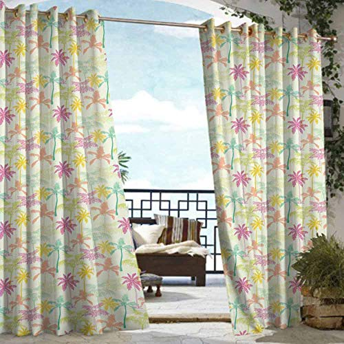 VIVIDX Sliding Door Curtain,Palm Tree,Energy Efficient, Room Darkening,W96x72L - Palm Bamboo Tree Door Curtain