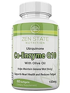 Zen State Nutrition Enhanced Absorption CoQ10 100mg Supplement, Promotes Cardiovascular & Heart Health, Super Antioxidant, Boosts Digestion & Immune Support, Increases Energy 60 Softgels