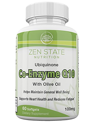 Zen State Nutrition Enhanced Absorption Ubiquinone CoQ10 100mg, Promotes Cardiovascular & Heart Health, Super Antioxidant, Boosts Digestion & Immune Support, Increases Energy 60 Softgels