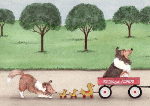 Sheltie (shetland sheepdog) family going for a wagon ride / Lynch folk art print