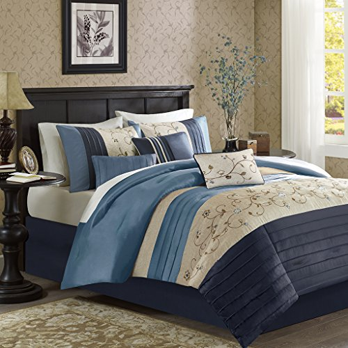 Madison Park Serene Cal King Size Bed Comforter Set Bed in A Bag - Navy, Embroidered – 7 Pieces Bedding Sets – Faux Silk Bedroom Comforters - Embroidered Bed