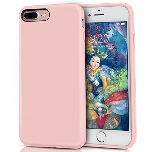 iPhone 8 Plus Silicone Case, iPhone 7 Plus silicone case, Milprox Pretty Series Liquid Silicone Gel Rubber Shockproof Case with Microfiber Cloth Lining Cushion for iPhone 7 Plus/8 Plus - Pink