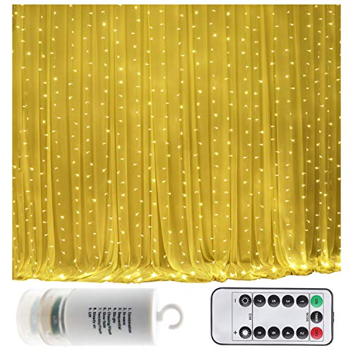 Battery Operated 300 LED Curtain String lights w/ Remote & Timer, Outdoor Curtain Icicle Wall Lights For Wedding Backdrops, Christmas, Holiday, Camping Decoration (9.8×9.8ft, Dimmable, Warm White)