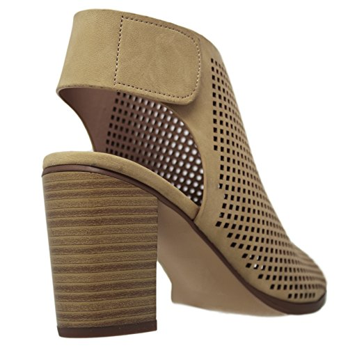 Roadway Beige Nb Ankle Classified City Heel Straps Women's RYqB00wE