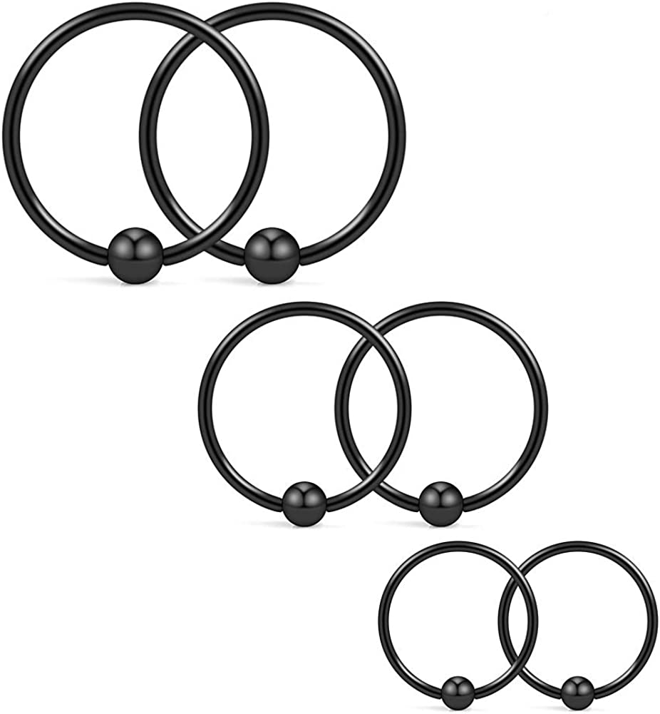 Ruifan 18G 8mm 10mm 12mm Nose Hoop Lip Eyebrow Tongue Helix Tragus Cartilage Septum Piercing Ring 6PCS