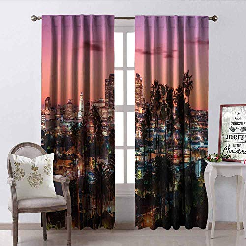 GloriaJohnson United States 99% Blackout Curtains Vibrant Sunset Twilight Scenery Los Angeles Famous Downtown with Palm Trees for Bedroom Kindergarten Living Room W42 x L90 Inch Multicolor