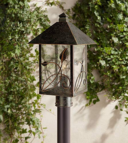 1l Outdoor Pole - French Garden Country Cottage Post Light Bronze Leaf and Vine Motif 17