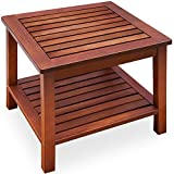 Side Table Pre-Oiled Acacia Wood Coffee Table Garden Table Wood 45x45x45 cm