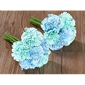 Nument(TM Silk Artificial Carnation Flowers Real Touch Flowers 2 bouquets for Wedding Bridal Bridesmaid Home Decoration (Blue) 46