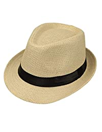Bhwin Men & Women's Straw Fedora Hat Short Brim Sun Hat Summer Beach Hat Jazz Hat