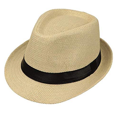 c18434459bbb8 Bhwin Men & Women's Summer Short Brim Natural Straw Fedora Hat ...