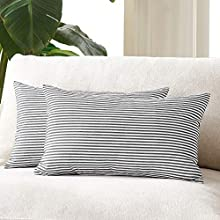Foindtower Pack of 2 Lumbar Farmhouse Decorative Stripe Throw Pillow Covers Classic Pillow Cases Rustic Retro Home Decor for Couch Bedding Chair 12 x 20 Inch Black and White