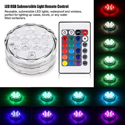 Submersible Light 10-LED RGB Light with Remote Battery Powered Waterproof Accent Light for Aquarium, Pond, Swimming Pool, Garden, Party