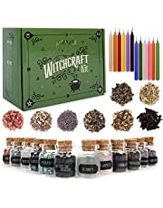 Witchcraft Supplies Box for Wiccan Spells – 36 Pack of Crystals Dried Herbs and Colored Magic Candles for Beginners Experienced Witches Pagan Spell-Versatile Tools Gifts Packaging Baby Toy Craft