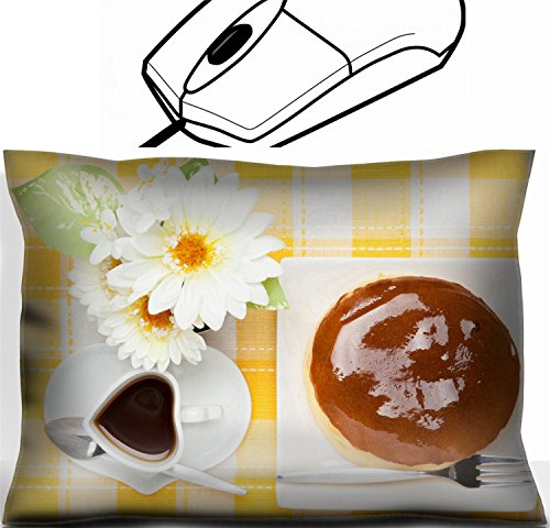 MSD Mouse Wrist Rest Office Decor Wrist Supporter Pillow design 19491546 This is a photograph of artificial flower and cheese cake and coffee