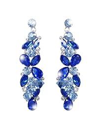 Ever Faith Bridal Tear Drop Flower Cluster Dangle Earrings Austrian Crystals