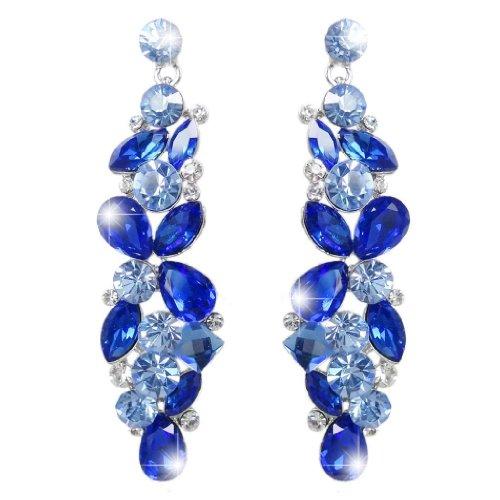 EVER FAITH Tear Drop Flower Cluster Dangle Earrings Dark Blue Austrian Crystal Silver-Tone