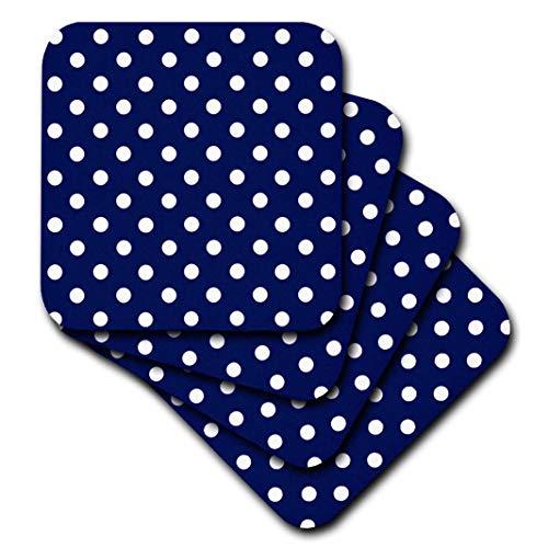 - 3dRose cst_24685_3 Navy Blue and White Polka Dot Print-Ceramic Tile Coasters, Set of 4