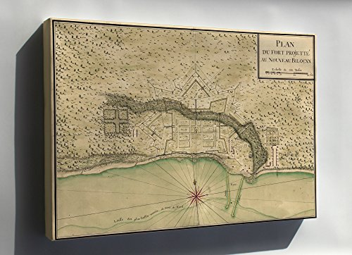 Canvas 16x24; Map Forts Round Biloxi Mississippi 1721 In French (Mississippi Biloxi Map)
