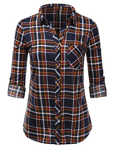 JJ Perfection Womens Long Sleeve Collared Button Down Plaid Flannel Shirt NavyRed M
