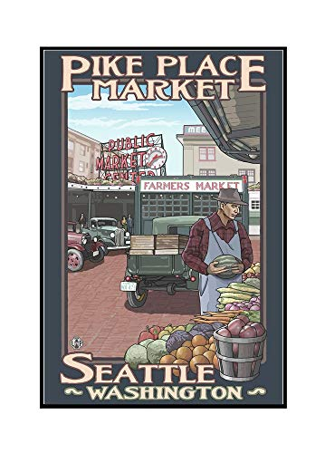 Pike Place Market (24x36 Framed Gallery Wrapped Stretched Canvas) ()