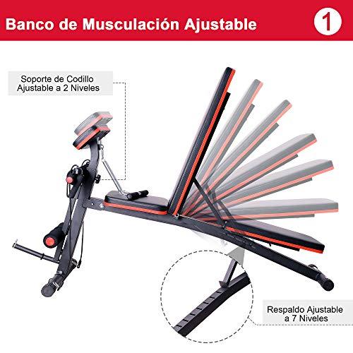 HOMCOM Banco de Mancuerna Plegable Inclinable Banco de Pesas Musculación Multifuncional para Entrenamiento Completo…